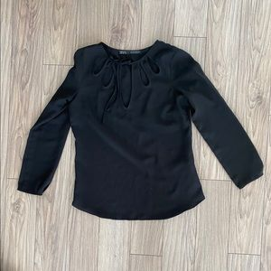 H&M Black Blouse with Cut outs